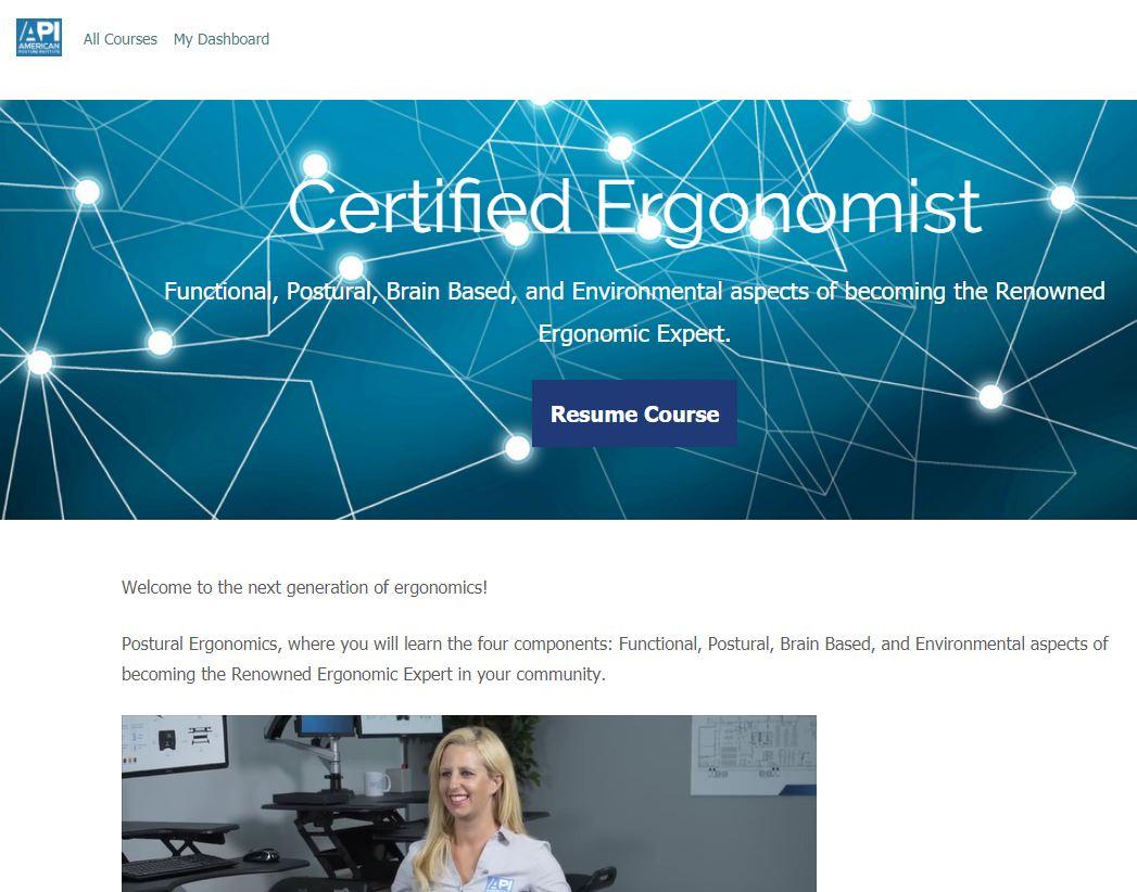 Postural Ergonomist Course Dashboard